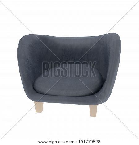 sofa in blue tone on isolated white in 3D render image