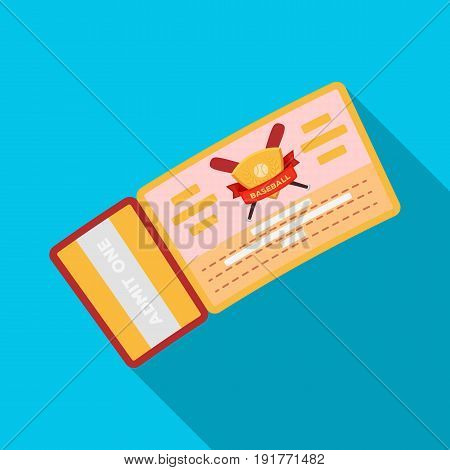 Baseball Ticket. Baseball single icon in flat style vector symbol stock illustration .