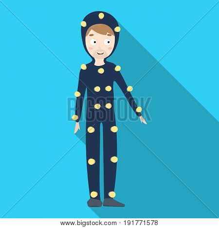 Suit with light bulbs. Making a movie single icon in flat style vector symbol stock illustration .