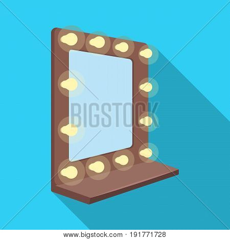 Mirror in the make-up room.Making movie single icon in flat style vector symbol stock illustration .