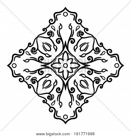Symmetrical decorative design element. Black outline isolated on white background. Can be used as a template for a coloring book page. Vector