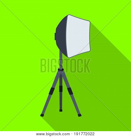 Lighting device on a tripod.Making movie single icon in flat style vector symbol stock illustration .