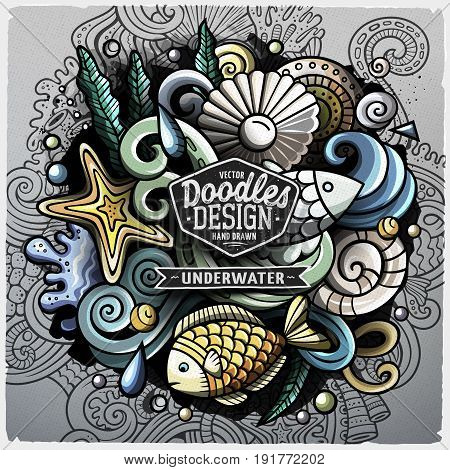 Undersea life cartoon vector doodle illustration. Colorful detailed design with lot of objects and symbols. All elements separate