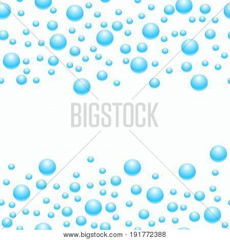 Seamlessly scattered blue pearls, isolated on light background, vector illustration. Soap bubbles are arranged for the text.