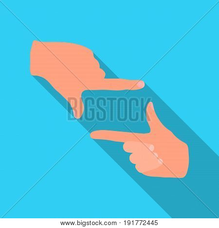 Gesture of the operator.Making movie single icon in flat style vector symbol stock illustration .
