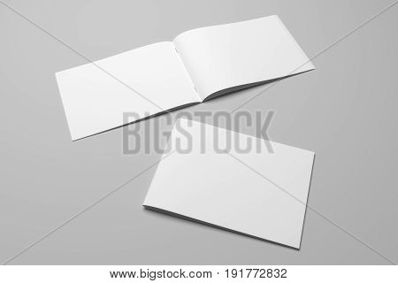 Blank 3D rendering landscape brochure magazine isolated on gray background, with clipping path.