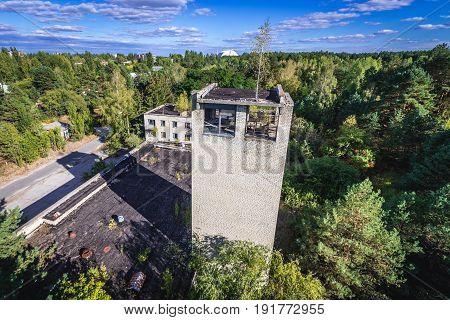 Fire station building in Pripyat city Chernobyl Exclusion Zone Ukraine