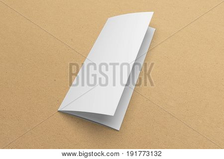 Blank opened 3D rendering tri-fold brochure mock-up with clipping path. Template on recycled paper texture background.