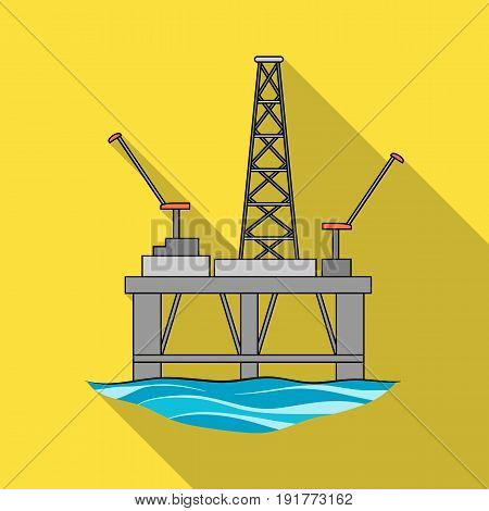 Oil rig on the water.Oil single icon in flat style vector symbol stock illustration .
