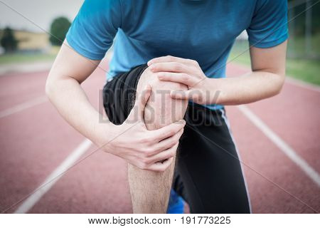 Running Athlete Feeling Pain Because Of Injured Knee