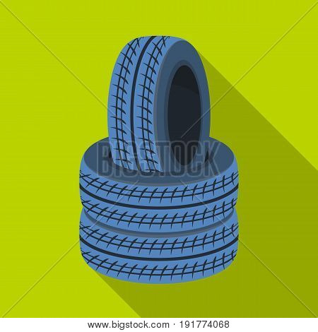 Barricade of tires.Paintball single icon in flat style vector symbol stock illustration .