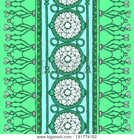 Ethnic and tribal green seamless pattern. Blue and white colors.