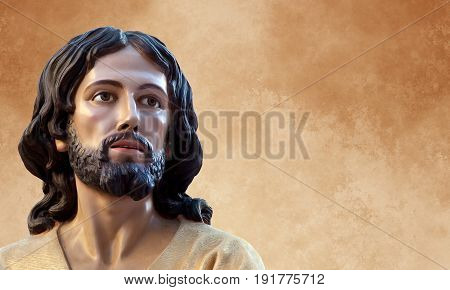 Jesus of Nazareth soft image over grunge background with copy space