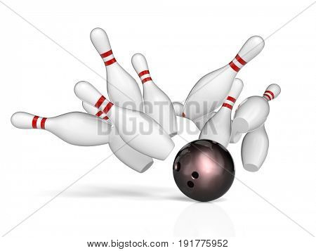 bowling action background 3d rendering image