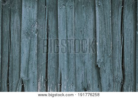 The blue painted old wooden background texture