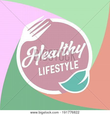 Healthy lifestyle food logo design. Detox Diet round icon. Leaf and fork circle for restaurant logo