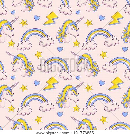 Dreamy pattern with unicorns and rainbows. Cute seamless background in white blue and yellow colors. Vector illustration.