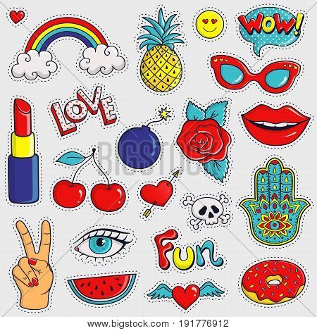Set of cute and trendy patches. Colorful hand drawn stickers on white background. Vector collection.