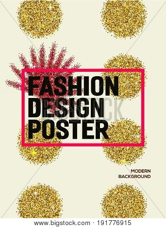 Abstract fashion poster with gold glitter circles. Background for flyer poster banner web card design. Modern and stylish abstract design poster.