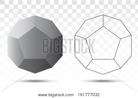 Dodecahedron vector icon on white background illustration