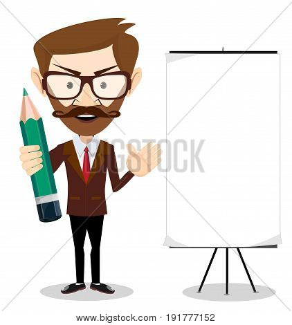 Man holding a pencil and pointing to a blank poster. Stock vector illustration for poster, greeting card, website, ad, business presentation, advertisement design.