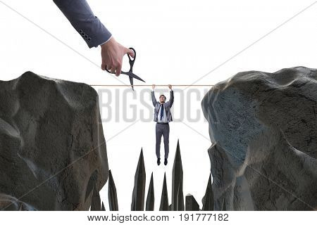 Competition concept with hanging businessman
