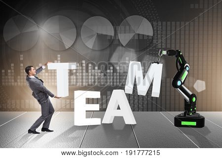 Man and robotic arm in teamwork concept