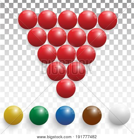 Pool billiard balls in a wooden rack - commonly used starting position. Billiard balls realistic
