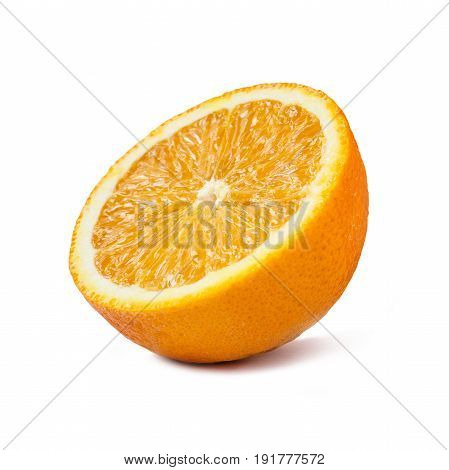 Juicy orange fruit with slice isolated on white background.