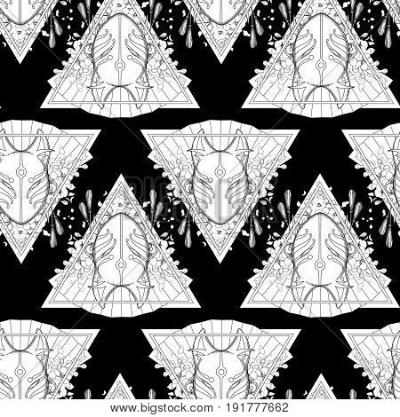 Graphic mask of japanese demon kitsune. Traditional attribute of asian folklore. Vector seamless pattern. Coloring book page design for adults and kids
