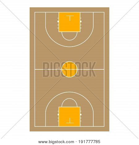 Wooden baseball court and basketball vector illustration