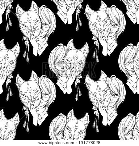 Smiling asian girl with dark hairs hiding her face under the japanese deamon fox mask in red, pink and blue colors. Vector seamless pattern. Coloring book page design for adults and kids