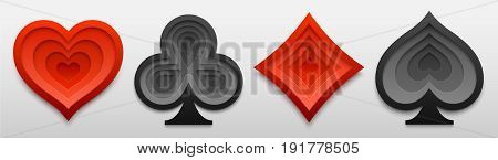 Set of playing card suit sign shapes. Paper art of four card symbols. Vector illustration for casino and poker games. Decorative design for cards posters flyers stickers.