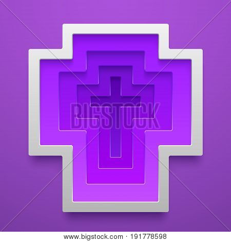 Vector Christian Cross icon shape. Religion decorative template. Concept design for cards posters flyers stickers.