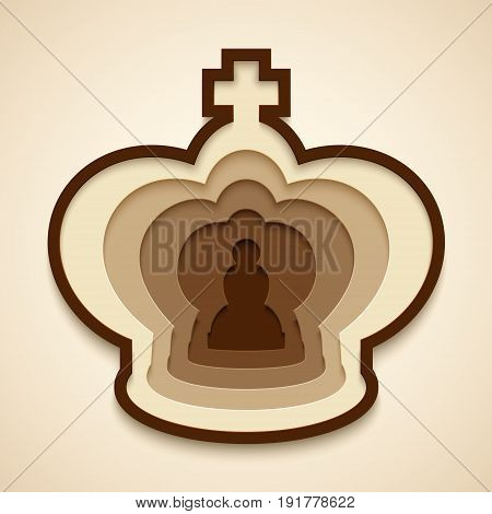 The king is essentially a pawn metaphor. Paper art with Chess figures concept. Vector illustration.