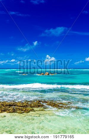 Photo of a thopical beach on the sunny day