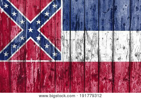 Flag of Mississippi painted on wooden frame