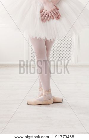 Ballerina legs third position in pointe, ballet dancer closeup background
