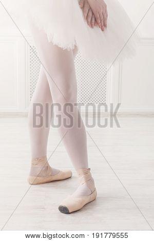 Ballerina legs fourth position in pointe, ballet dancer closeup background