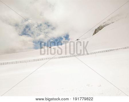 Ski Slopes On HinterTux Glacier In Alps, Austria