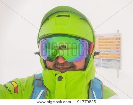 Adult Man With Mustache Wearing Ski Mask And Sports Jacket Hintertux Austria