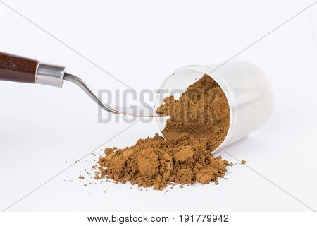 light brown pigment on a white background macro