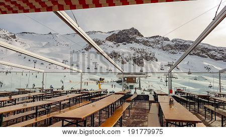 Hintertux, Austria- 10 May 2017: Slopes Of Winter Resort In Alps Mountains In HinterTux Austria On 10 May 2017
