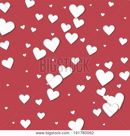 Cutout White Paper Hearts. Scatter Vertical Lines With Cutout White Paper Hearts On Crimson Backgrou
