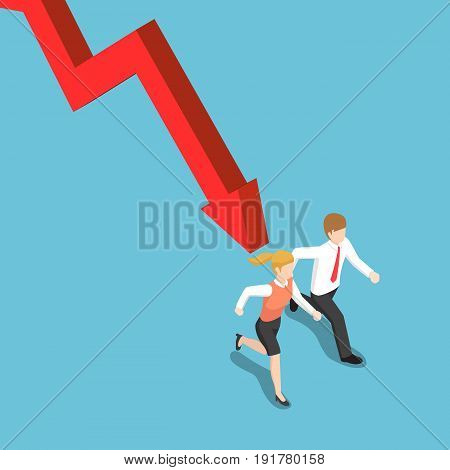Isometric Businessman Runaway From Falling Graph.