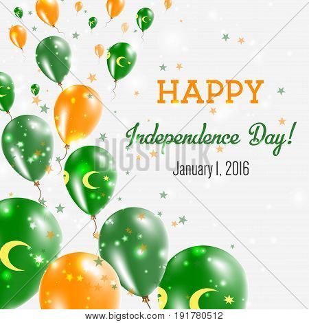 Cocos (keeling) Islands Independence Day Greeting Card. Flying Balloons In Cocos (keeling) Islands N