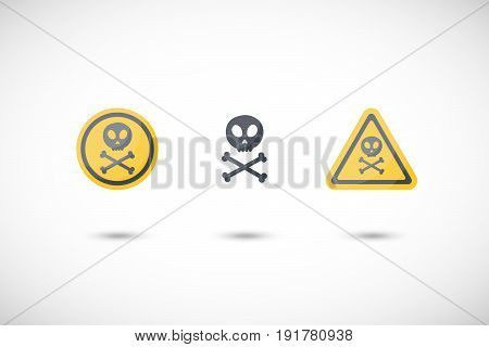 Poison sign vector flat icons set Flat design of danger alert symbol with round shadow isolated cute vector illustration