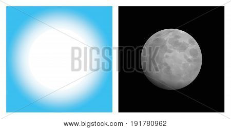 Day and nigh - sun and moon - artistic abstract illustration of symbolic coexistence pair - isolated vector on white background.