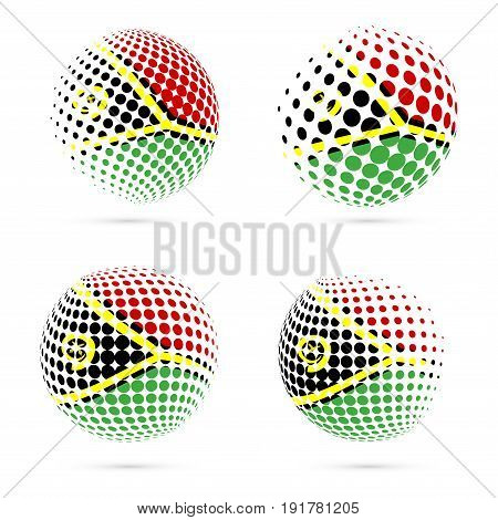 Vanuatu Halftone Flag Set Patriotic Vector Design. 3D Halftone Sphere In Vanuatu National Flag Color