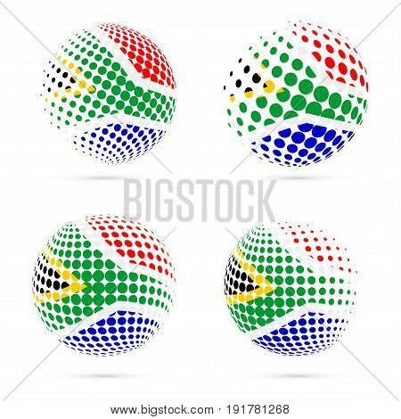 South Africa Halftone Flag Set Patriotic Vector Design. 3D Halftone Sphere In South Africa National
